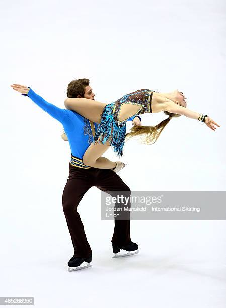 Michael Parsons and Rachel Parsons of the USA perform during the Ice Dance Short Dance on Day 2 of the ISU World Junior Figure Skating Championships...