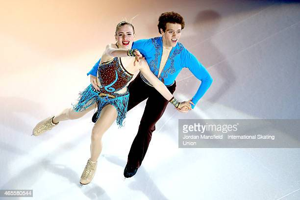 Michael Parsons and Rachel Parsons of USA perform during the Gala Exhibition on Day 5 of the ISU World Junior Figure Skating Championships at...