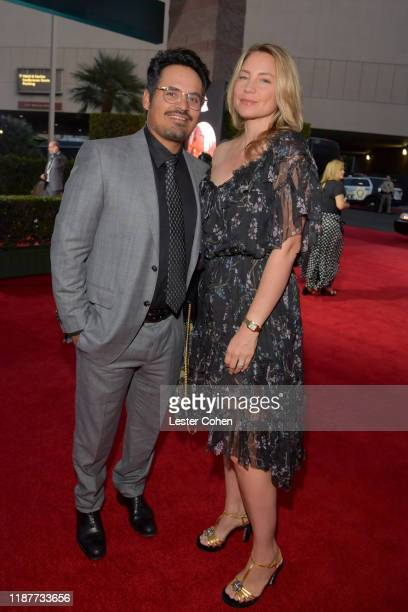 Michael Peña and Brie Shaffer attend the 20th annual Latin GRAMMY Awards at MGM Grand Garden Arena on November 14 2019 in Las Vegas Nevada