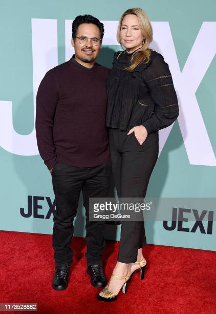 Michael Pena and Brie Shaffer arrive at the Premiere Of Lionsgate's Jexi at Fox Bruin Theatre on October 3 2019 in Los Angeles California