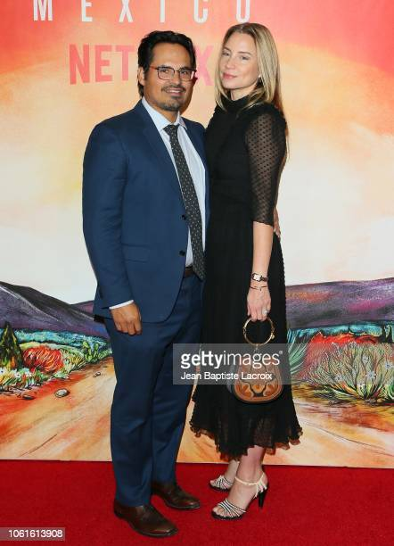 Michael Pena and Brie Shaffer attend Netflix's 'Narcos Mexico' Season 1 Premiere at Regal Cinemas LA Live on November 14 2018 in Los Angeles...