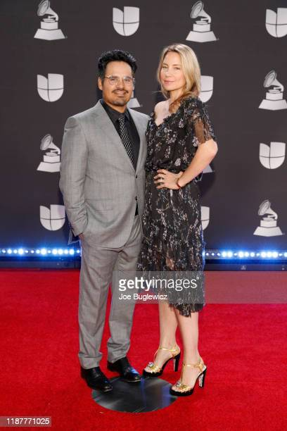 Michael Pena and Brie Shaffer attend the 20th annual Latin GRAMMY Awards at MGM Garden Arena on November 14 2019 in Las Vegas Nevada