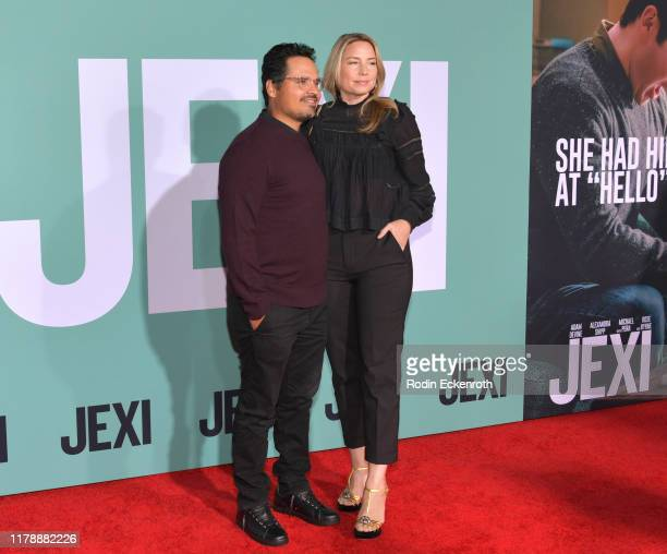 Michael Pena and Brie Shaffer attend the premiere of Lionsgate's Jexi at Fox Bruin Theatre on October 03 2019 in Los Angeles California
