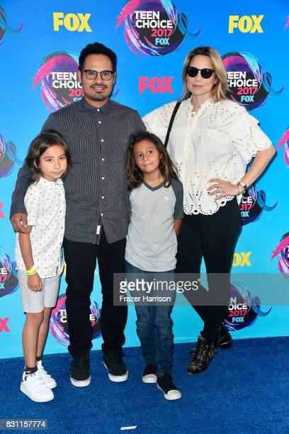 Michael Pena and Brie Shaffer attend the Teen Choice Awards 2017 at Galen Center on August 13 2017 in Los Angeles California
