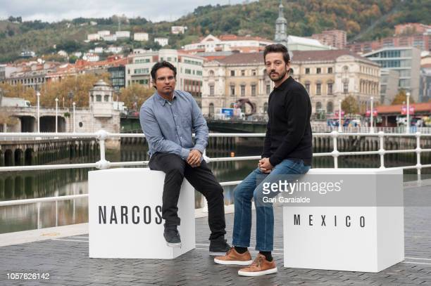 Michael Pena and Diego Luna pose for a portrait during the 'Narcos: Mexico' photocall on November 5, 2018 in Bilbao, Spain.