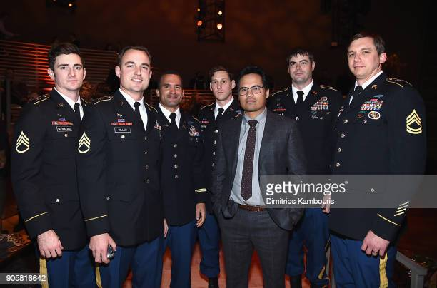 "Michael Pena and members of U.S Special Forces attend The ""12 Strong"" World Premiere after party on January 16, 2018 in New York City."