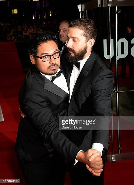 Michael Pena and Shia LeBeouf attend the closing night European Premiere gala red carpet arrivals for Fury during the 58th BFI London Film Festival...
