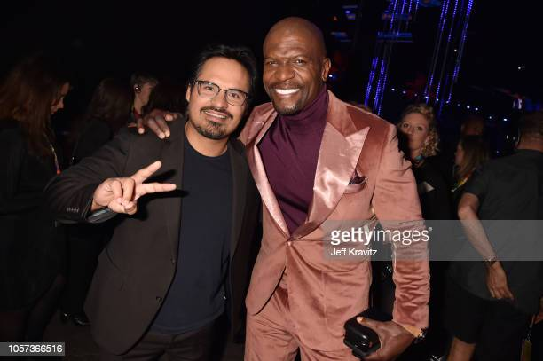 Michael Pena and Terry Crews attend the MTV EMAs 2018 at Bilbao Exhibition Centre on November 4 2018 in Bilbao Spain