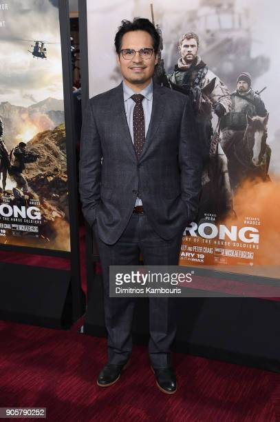 "Michael Pena attends the world premiere of ""12 Strong"" at Jazz at Lincoln Center on January 16, 2018 in New York City."
