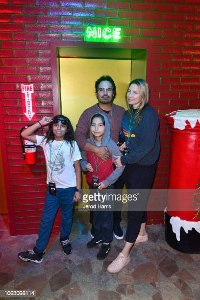 Michael Pena Brie Shaffer and family attend the Fa La Land VIP preview at ROW DTLA on November 17 2018 in Los Angeles California