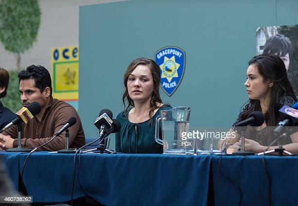 Michael Pena Virgina Kull and Madalyn Horcher in Episode Five of GRACEPOINT airing Thursday Oct 30 2014 on FOX