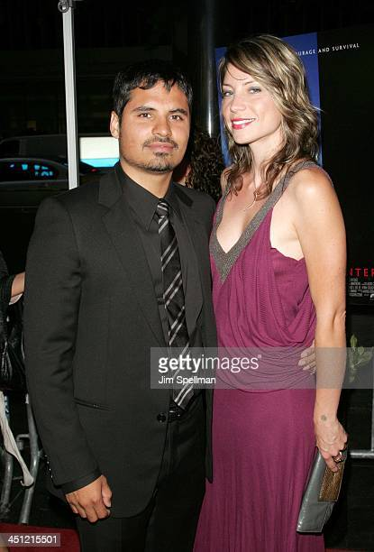 Michael Pena with Brie Shaffer during World Trade Center New York City Premiere Outside Arrivals at Ziegfeld Theater in New York City New York United...