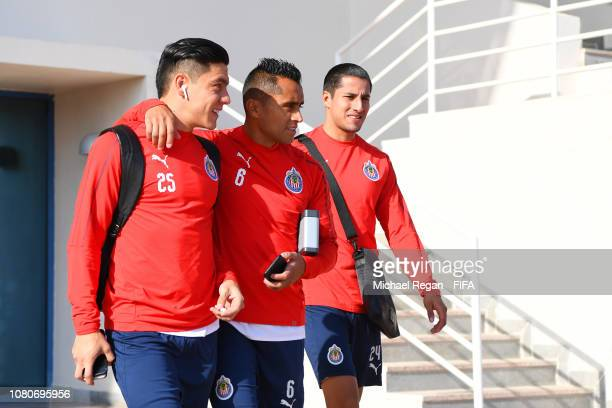 Michael Perez, and Edwin Hernandez arrive for the CD Guadalajara training session ahead of the FIFA Club World Cup UAE 2018 on December 11, 2018 in...