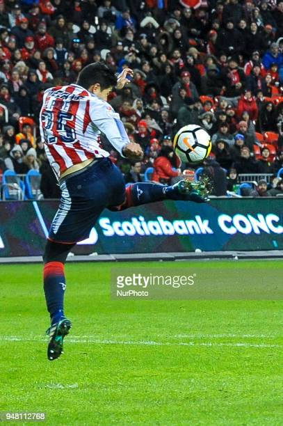 Michael Perez during the 2018 CONCACAF Champions League Final match between Toronto FC and CD Chivas Guadalajara at BMO Field in Toronto Canada on...