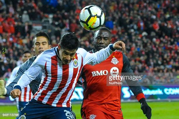 Michael Perez kicked the ball by head during the 2018 CONCACAF Champions League Final match between Toronto FC and CD Chivas Guadalajara at BMO Field...