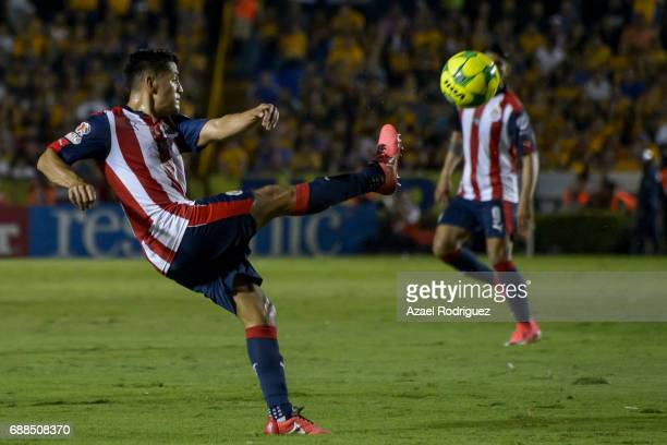Michael Perez of Chivas kicks the ball during the Final first leg match between Tigres UANL and Chivas as part of the Torneo Clausura 2017 Liga MX at...