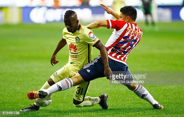Michael Perez of Guadalajara vies for the ball with Darwin Quintero of America during their Mexican Clausura 2016 tournament football match at...