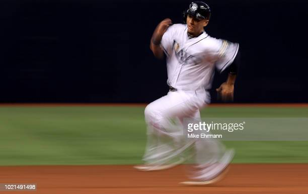 Michael Perez of the Tampa Bay Rays rounds second in the second inning during a game against the Kansas City Royals at Tropicana Field on August 22...