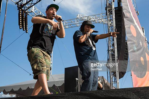 Michael Perretta aka Evidence and Rakaa Taylor of Dilated Peoples performs at the Sasquatch Music Festival at The Gorge on May 23 2015 in George...
