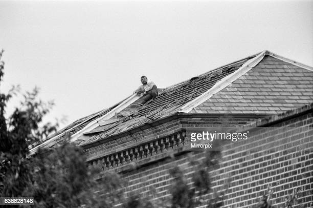 Michael Peterson stages a protest on the roof of Broadmoor Hospital 20th June 1983
