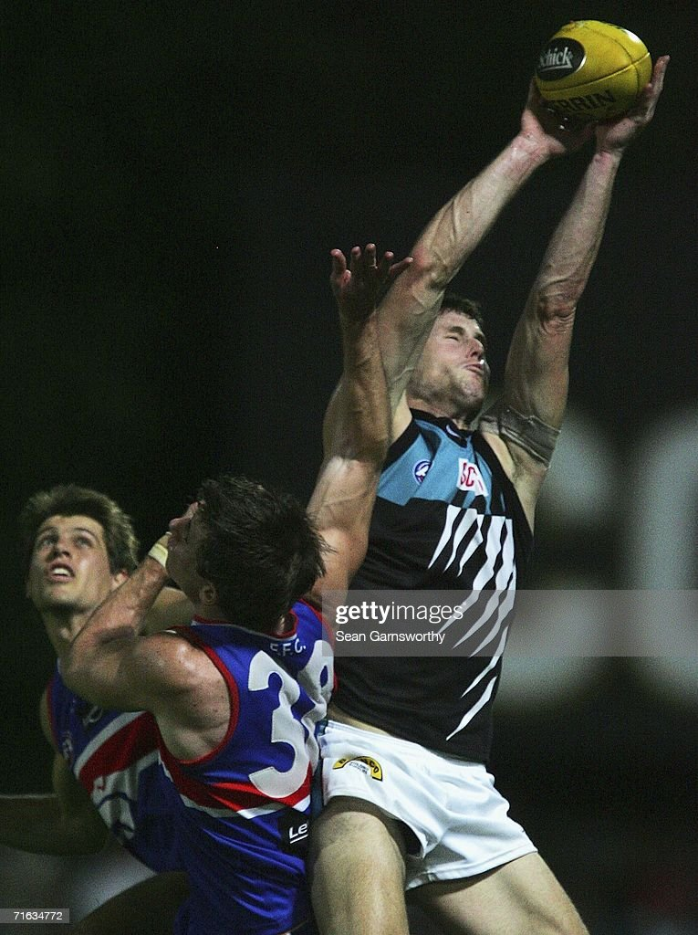 Michael Pettigrew #36 for the Power in actionl during the round 19 AFL match between the Western Bulldogs and the Port Adelaide Power at Marrara Oval on August 12, 2006 in Darwin, Australia.