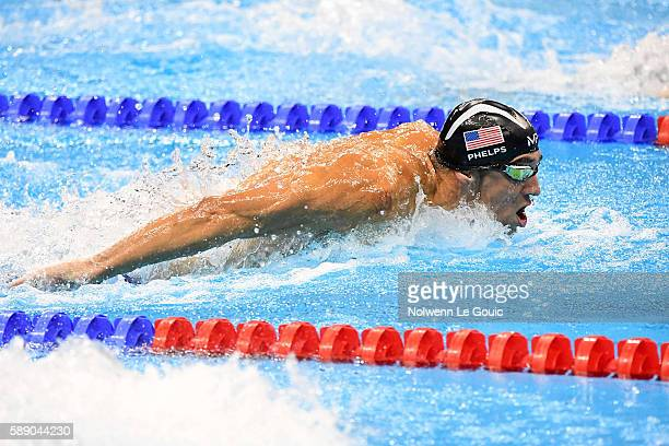 Michael Phelps 100m butterfly during Swimming on Olympic Games 2016 in Rio at Olympic Aquatics Stadium on August 12 2016 in Rio de Janeiro Brazil