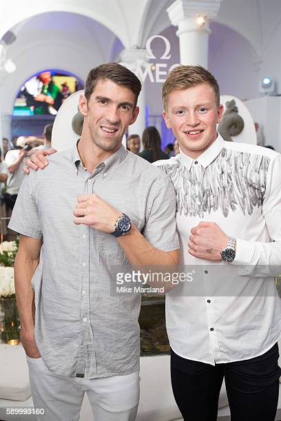 Michael Phelps and Adam Peaty pictured at Swimming Legends night at OMEGA House Rio 2016 on August 15 2016 in Rio de Janeiro Brazil