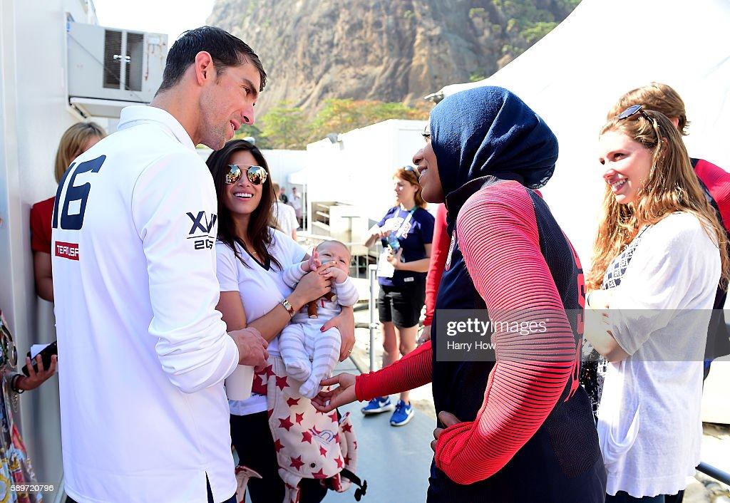 Michael Phelps and Ibtihaj Muhammad speak on the Today show set on Copacabana Beach on August 15, 2016 in Rio de Janeiro, Brazil.