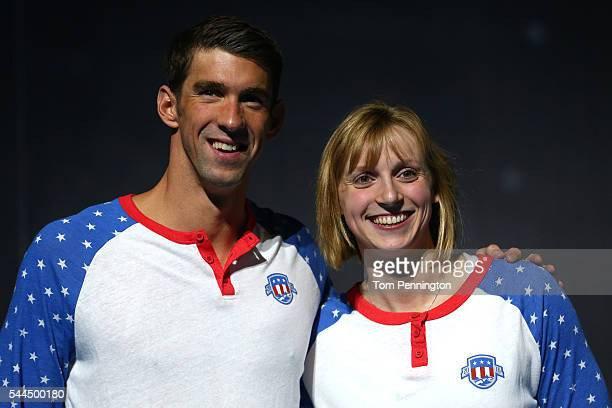 Michael Phelps and Katie Ledecky of the United States celebrate during Day Eight of the 2016 US Olympic Team Swimming Trials at CenturyLink Center on...