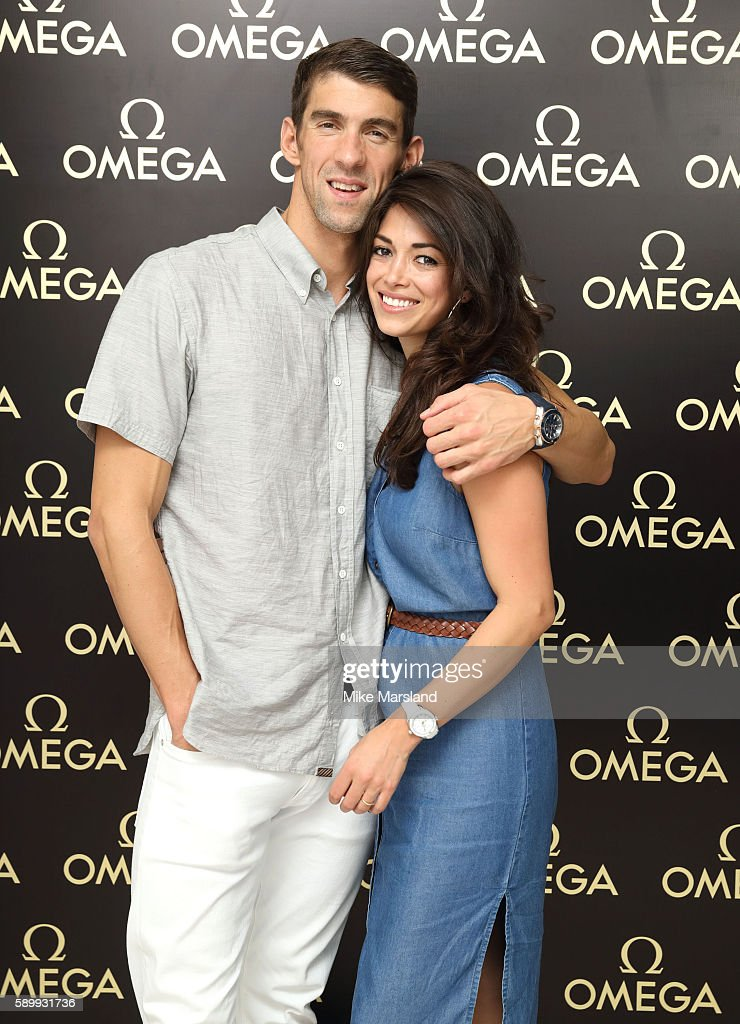 Michael Phelps and Nicole Johnson pictured at Swimming Legends night at OMEGA House Rio 2016 on August 15, 2016 in Rio de Janeiro, Brazil.