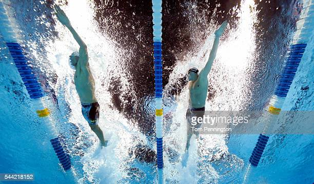 Michael Phelps and Ryan Lochte of the United States compete in a heat for the Men's 200 Meter Individual Medley during Day Six of the 2016 US Olympic...