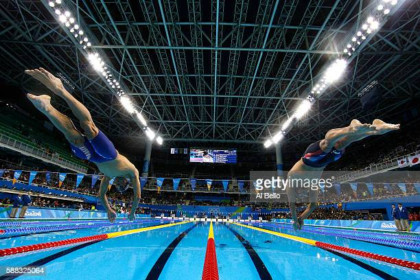 Michael Phelps and Ryan Lochte of the United States compete in the second Semifinal of the Men's 200m Individual Medley on Day 5 of the Rio 2016...