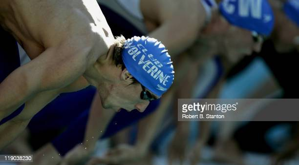 Michael Phelps at the start of the Men's 200 Meter Freestyle at the second day of the Santa Clara 38th International 2005 USA Swimming Grand Prix...