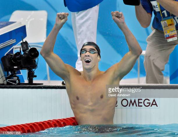 Michael Phelps celebrates winning gold in the 400m Medley Final at the Summer Olympic Games in Beijing China 10th August 2008.