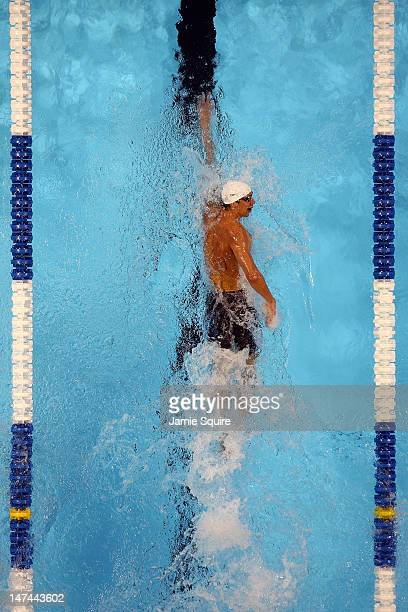 Michael Phelps competes in preliminary heat 12 of the Men's 200 m Individual Medley during Day Five of the 2012 US Olympic Swimming Team Trials at...