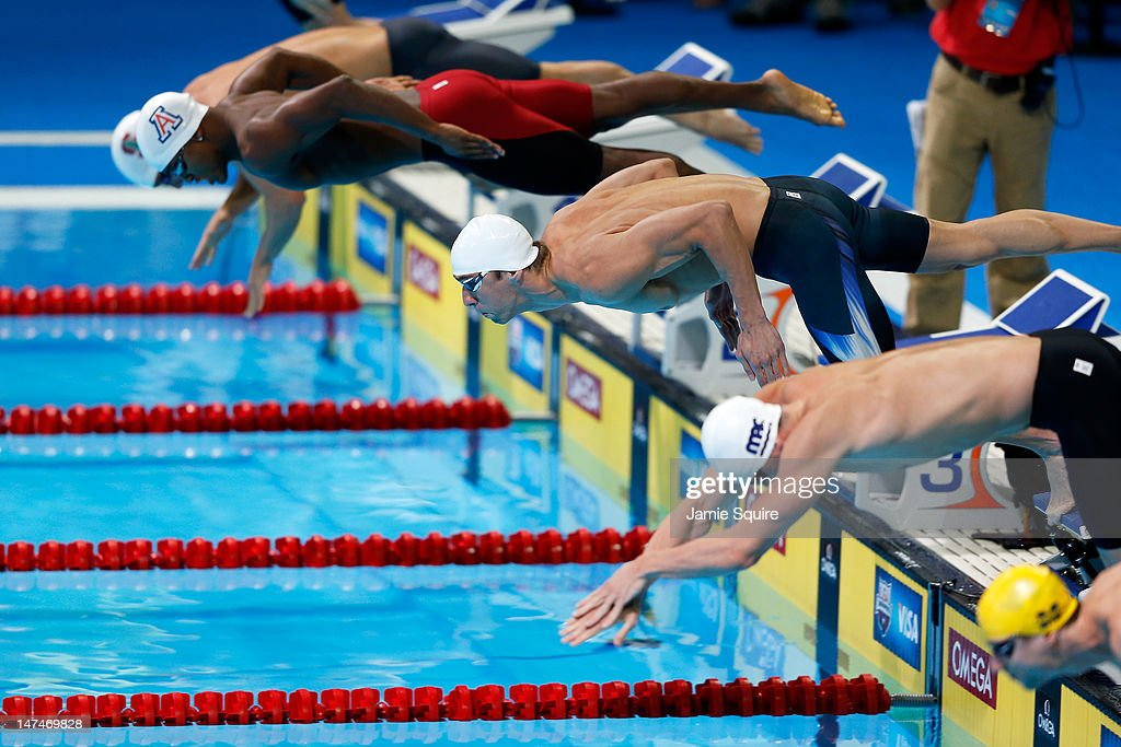 Michael Phelps Dives Of Off The Starting Block As He Competes In  Preliminary Heat 13 Of