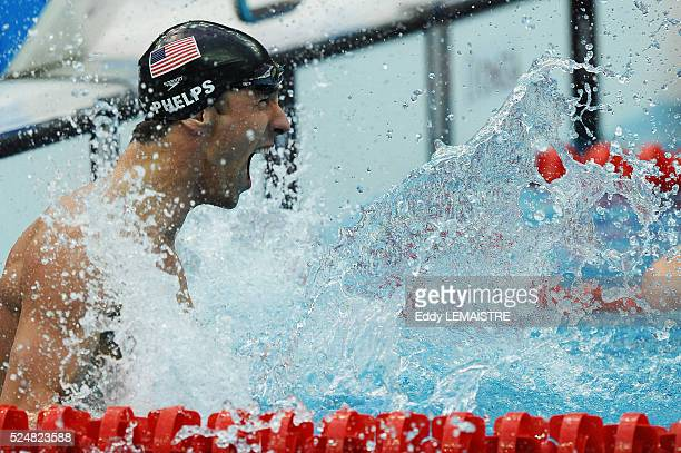Michael Phelps in action during the men's 100m Butterfly final during the 2008 Olympics in Beijing China Phelps won the race for his 7th gold medal...