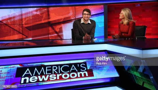 Michael Phelps is interviewed by FOX news anchor Martha MacCallum at FOX News at FOX Studios on February 25 2013 in New York City