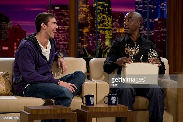 Michael Phelps, J.B. Smooth -- Episode 3614 --Air Date -- Pictured: Olympic swimmer Michael Phelps and comedian J.B. Smooth during an interview on...