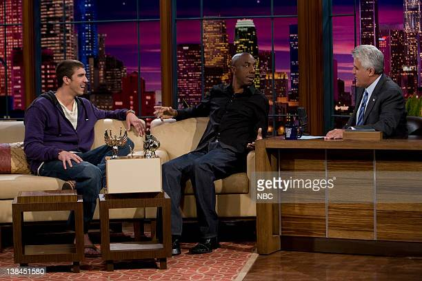 Michael Phelps, J.B. Smooth -- Episode 3614 --Air Date -- Pictured: Olympic swimmer Michael Phelps and comedian J.B. Smooth during an interview with...