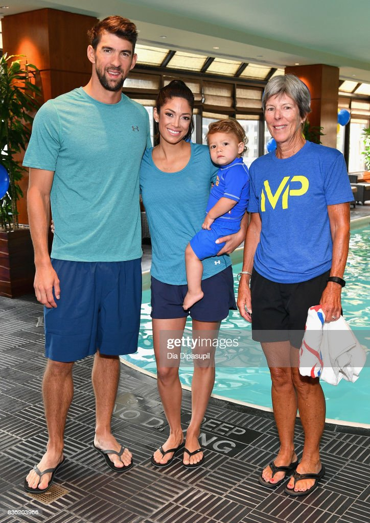 Michael Phelps, Nicole Phelps, Boomer Phelps and Cathy Bennett attend the Huggies Little Swimmers #trainingfor2032 Swim Class With The Phelps Foundation on August 21, 2017 in New York City.
