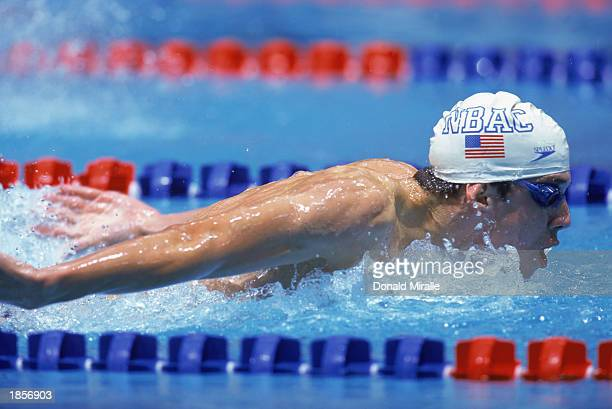 Michael Phelps of North Baltimore competes in the Men's 200m Butterfly preliminaries during the 2000 US Olympic Swim Trials at the IUPUI Natatorium...