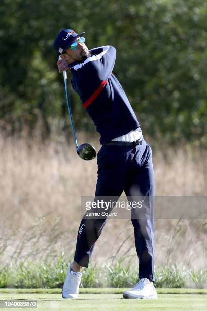 Michael Phelps of Team USA plays a shot during the celebrity challenge match ahead of the 2018 Ryder Cup at Le Golf National on September 25 2018 in...