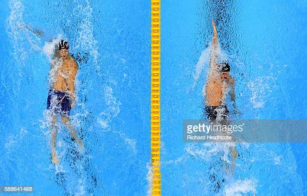 Michael Phelps of the United States and Ryan Lochte of the United States compete in the Men's 200m Individual Medley Final on Day 6 of the Rio 2016...