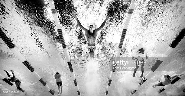 Michael Phelps of the United States competes in the final heat for the Men's 200 Meter Butterfly during Day Four of the 2016 US Olympic Team Swimming...