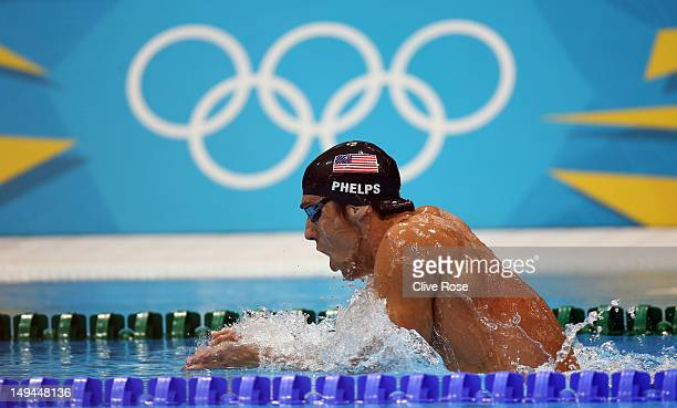 Michael Phelps of the United States competes in the Final of the Men's 400m Individual Medley on Day One of the London 2012 Olympic Games at the...