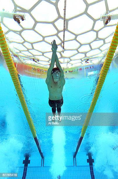 Michael Phelps of the United States competes in the Men's 200m Butterfly Semifinal 2 held at the National Aquatics Center on Day 4 of the Beijing...