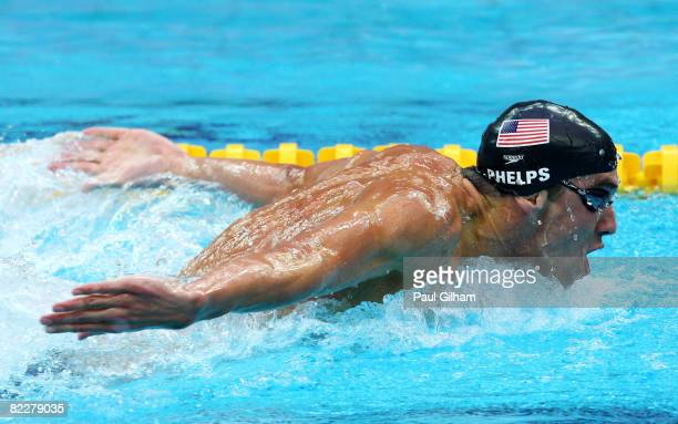 Michael Phelps of the United States competes in the Men's 200m Butterfly Final held at the National Aquatics Centre during Day 5 of the Beijing 2008...