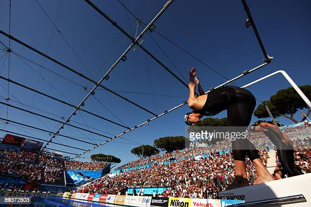 Michael Phelps of the United States competes in the Men's 200m Freestyle Final during the 13th FINA World Championships at the Stadio del Nuoto on...
