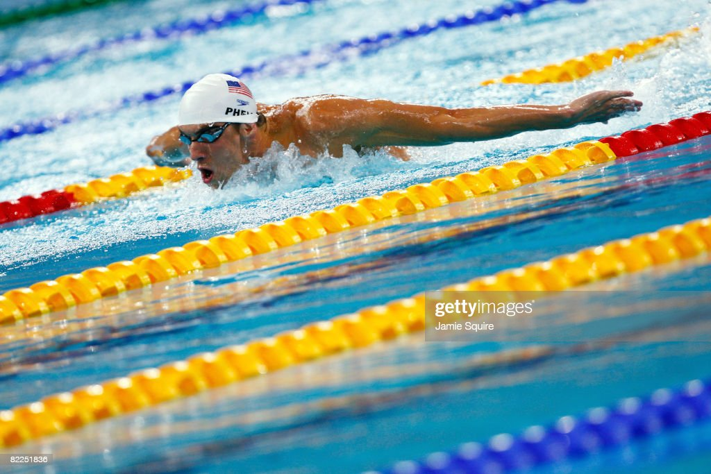 Michael Phelps of the United States competes in the Men's 200m Butterfly Heat 6 held at the National Aquatics Center on Day 3 of the Beijing 2008 Olympic Games on August 11, 2008 in Beijing, China.